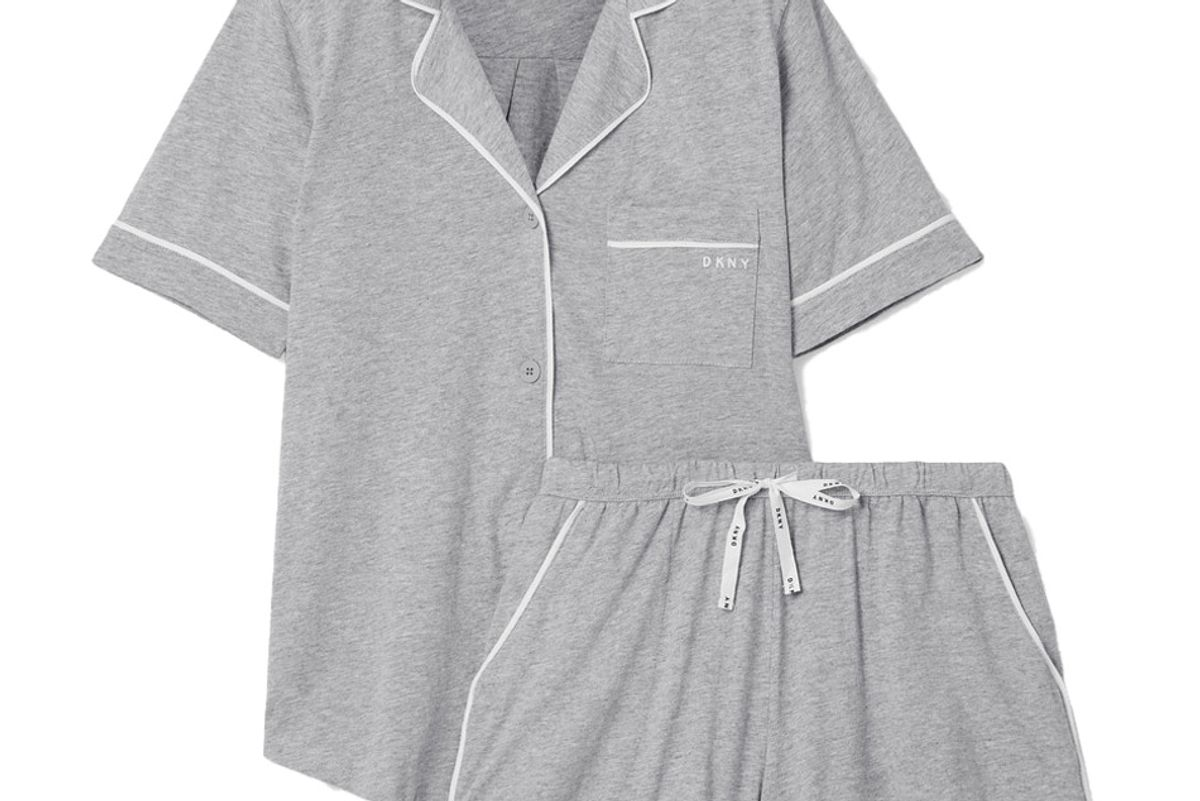 dkny signature cotton blend jersey pajama set