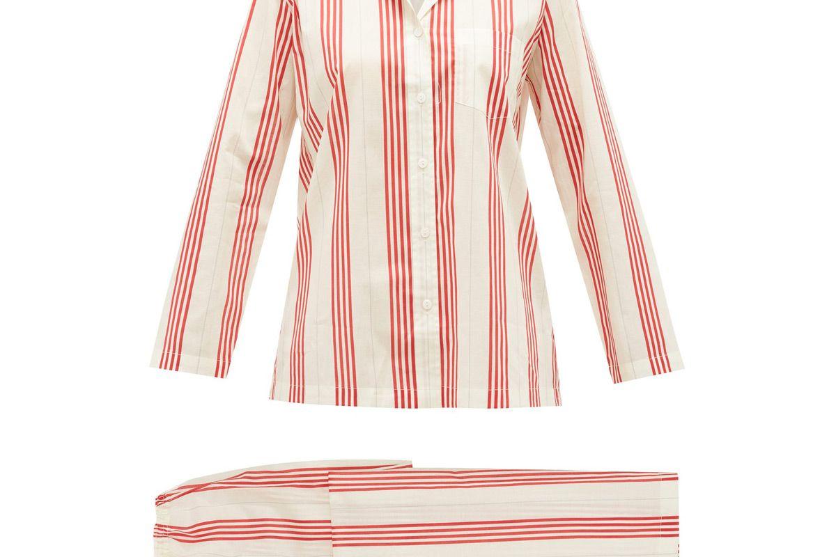pour les femmes striped cotton voile pyjamas