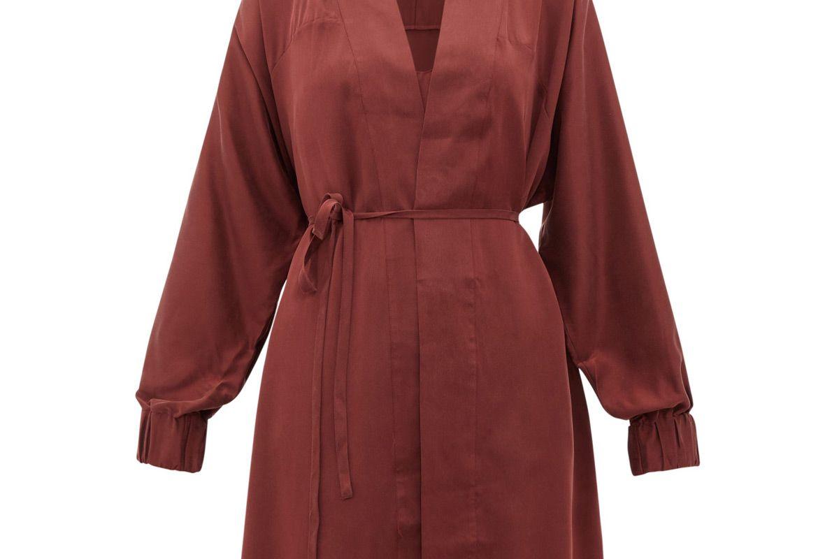 lunya elasticated cuff belted silk robe