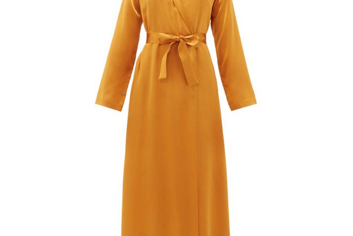 la perla belted silk charmeuse robe