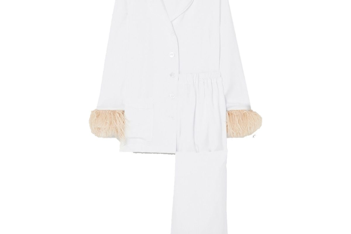 sleeper party feather trimmed crepe de chine pajama set