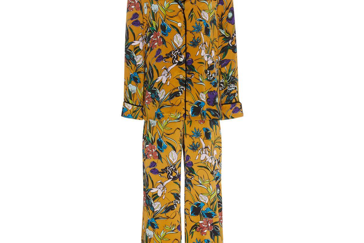 olivia von halle lila floral print silk satin pajamas