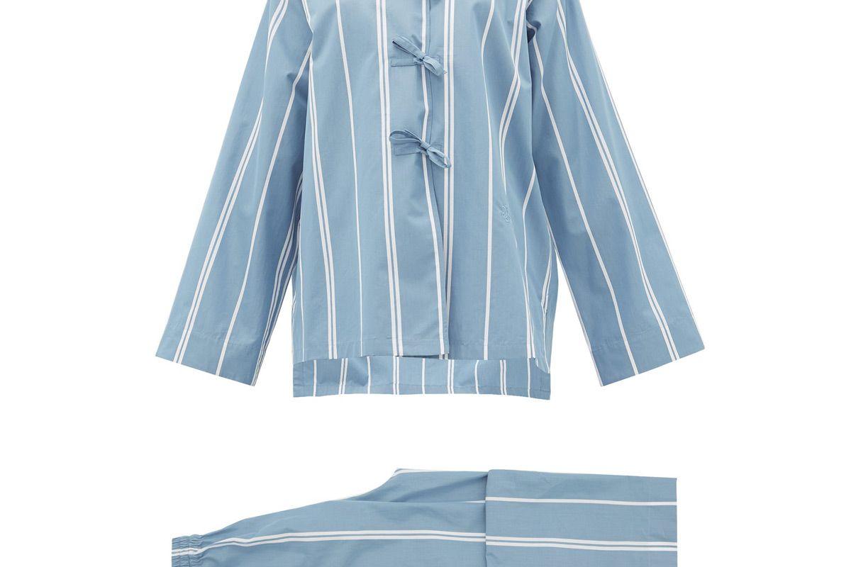 jil sander monogram embroidered striped cotton pyjamas