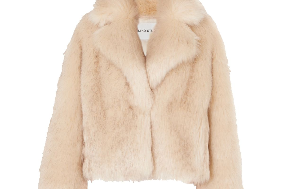 stand studio and pernille teisbaek janet faux fur jacket