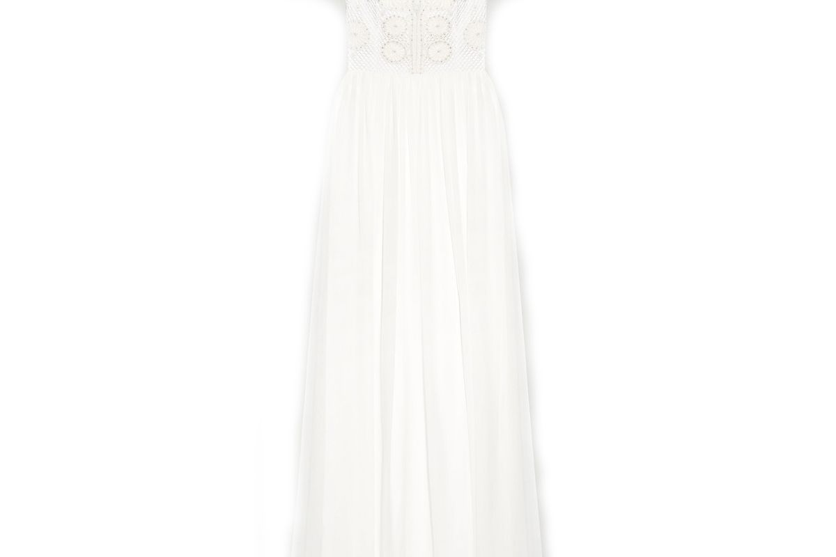 temperley london open back embellished crocheted tulle and silk chiffon gown