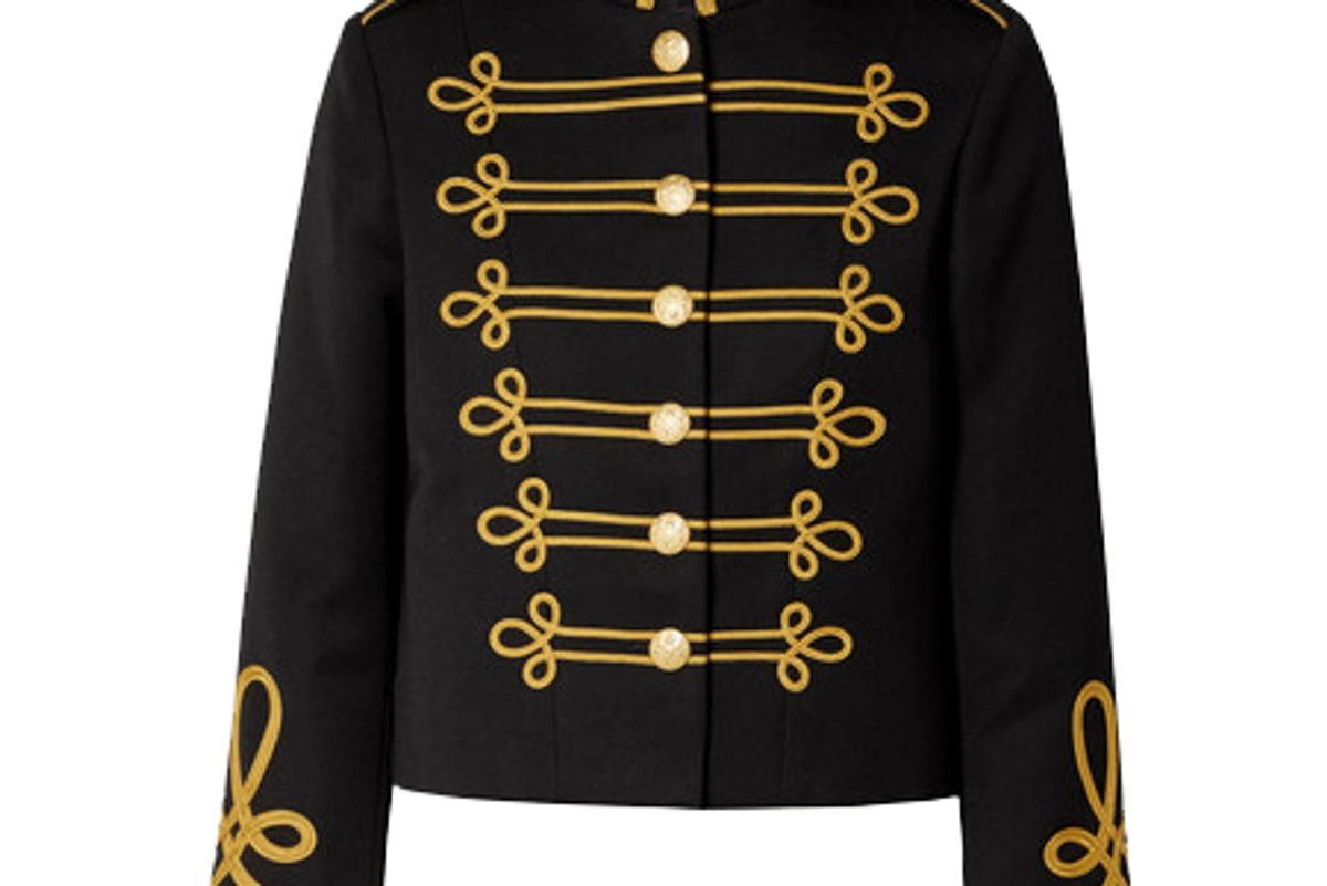nili lotan jaselle cropped embroidered wool twill jacket