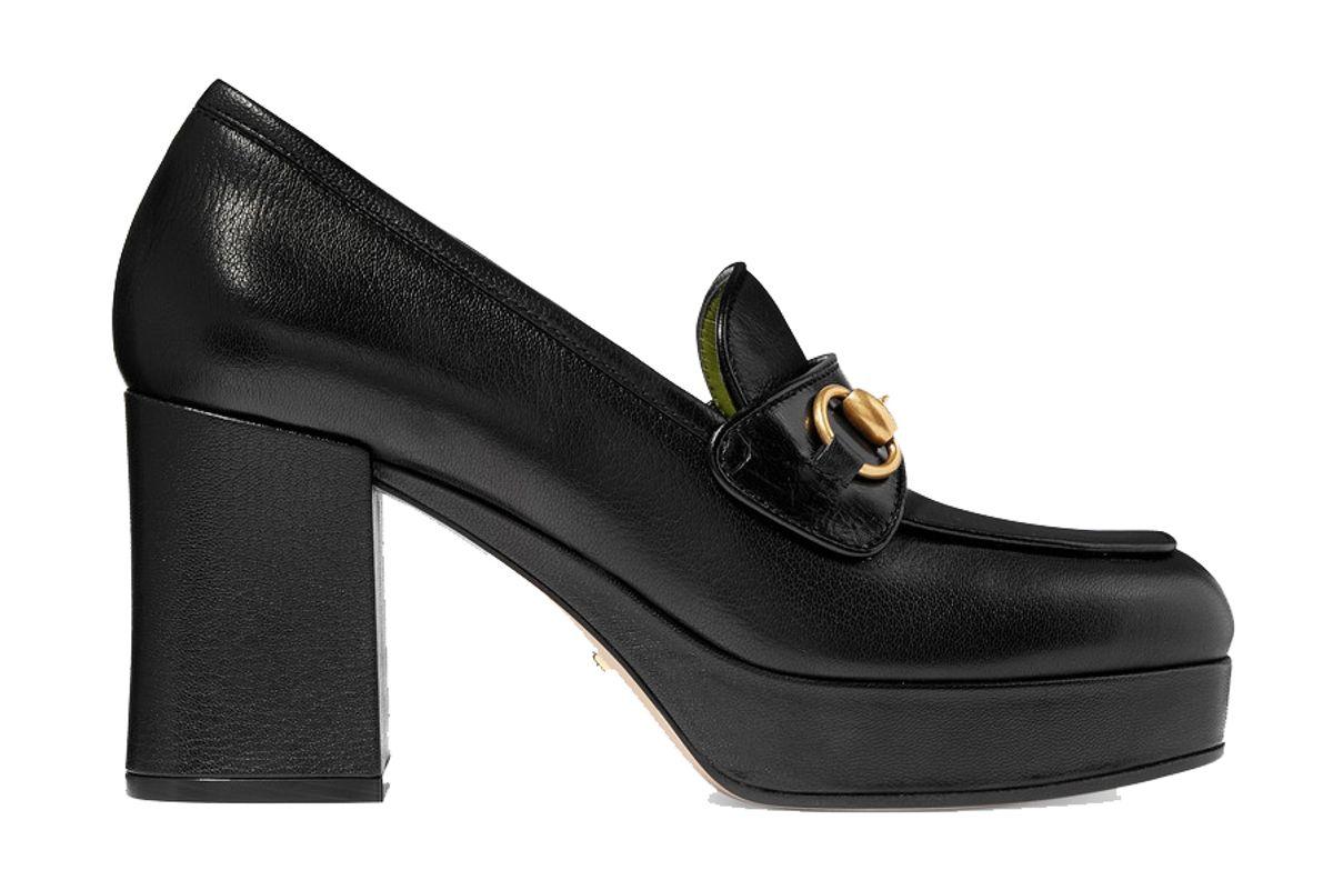 gucci horsebit detailed leather platform loafers