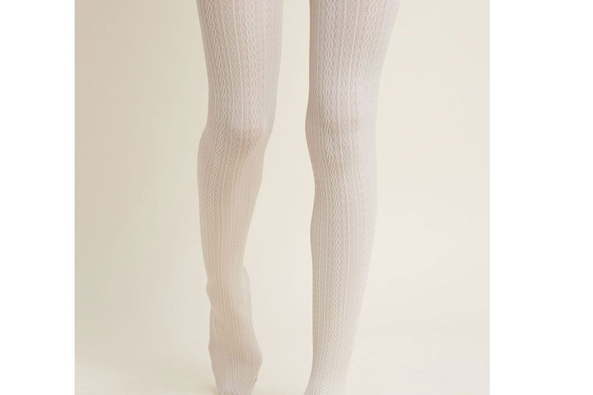 modcloth cable for discussion tights in ivory