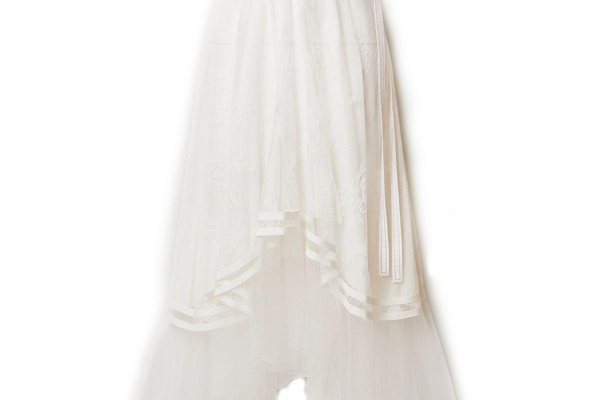 chloe asymmetric embroidered tulle midi skirt