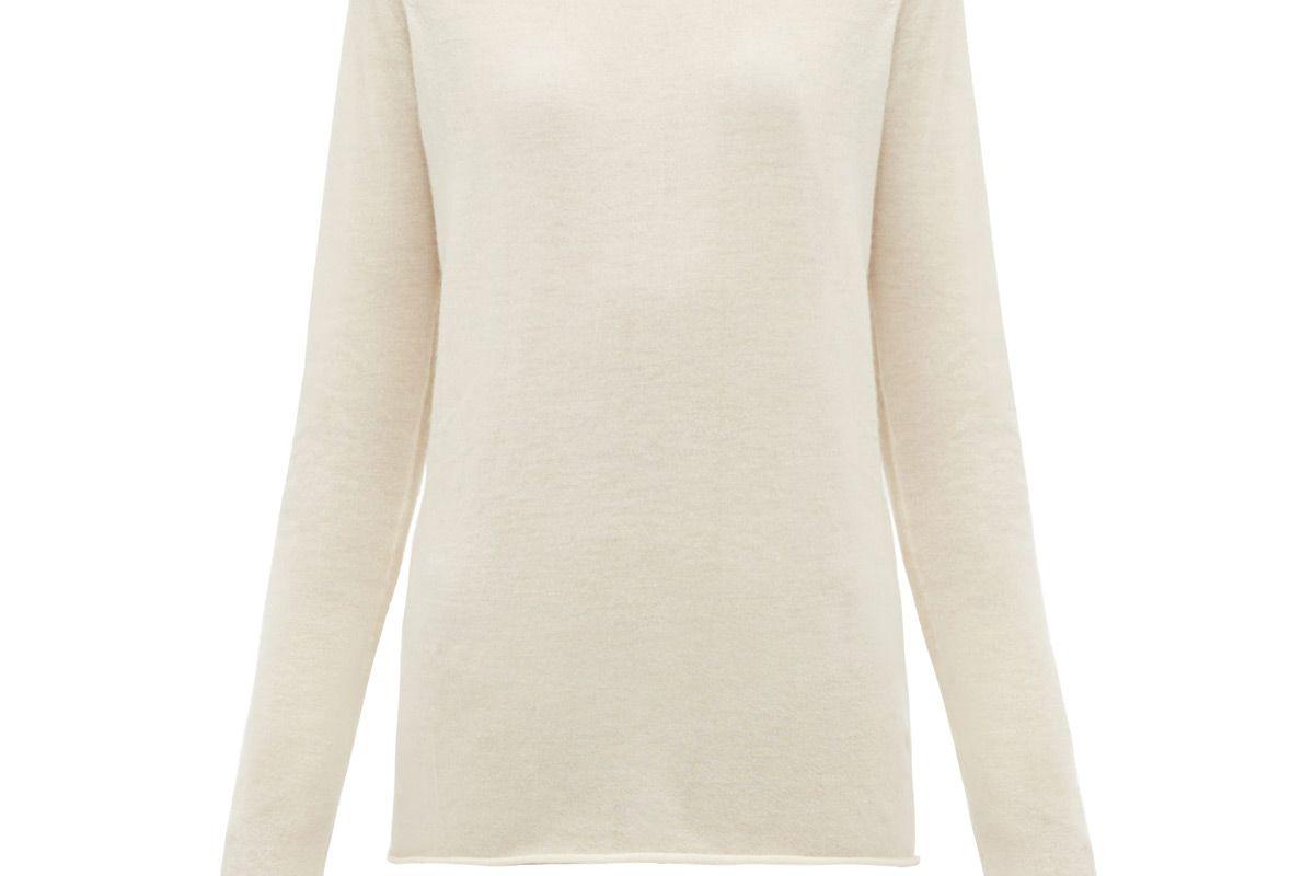 raey sheer raw edge crew neck cashmere sweater