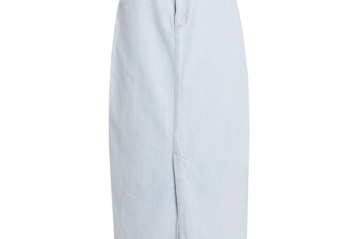 nobody denim avery high rise rigid denim midi skirt