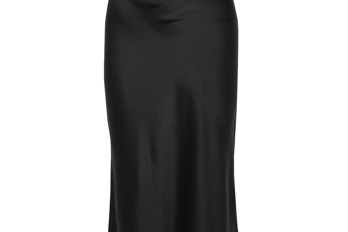anine bing bar silk satin midi skirt