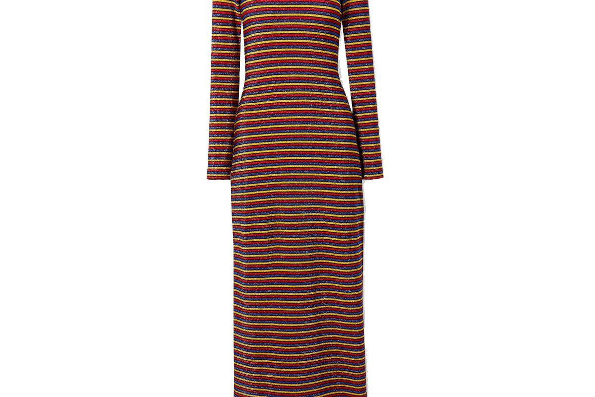 rosetta getty metallic striped stretch knit turtleneck maxi dress