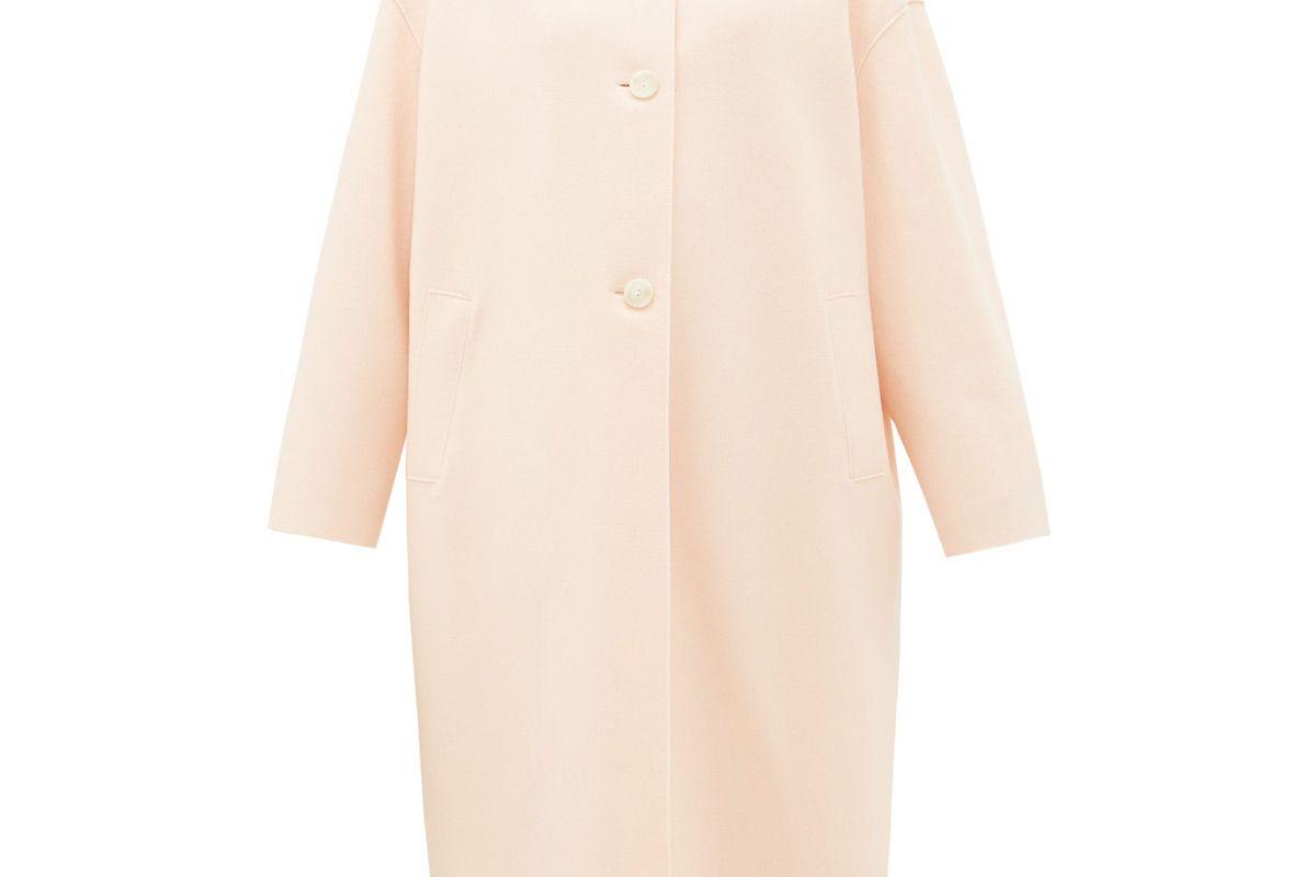 harris wharf london single breasted felted wool coat