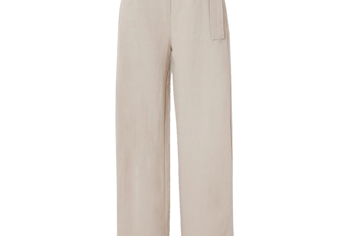 co belted woven wide leg pants