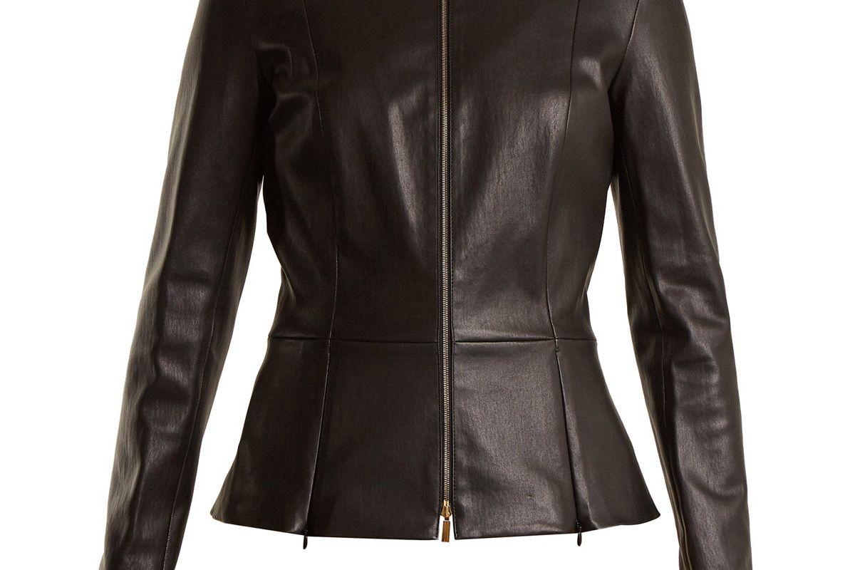 the row anaste collarless leather jacket