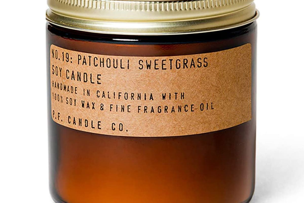 p f candle co patchouli sweetgrass standard candle