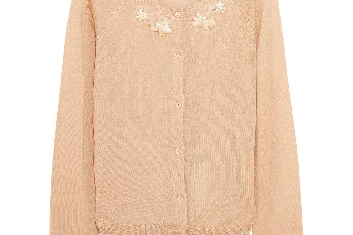 Embellished Merino Wool Cashmere and Silk-Blend Cardigan