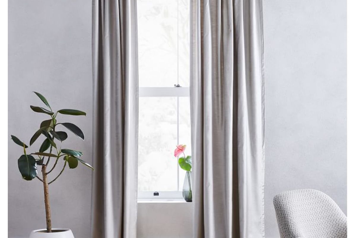 west elm cotton luster velvet curtain