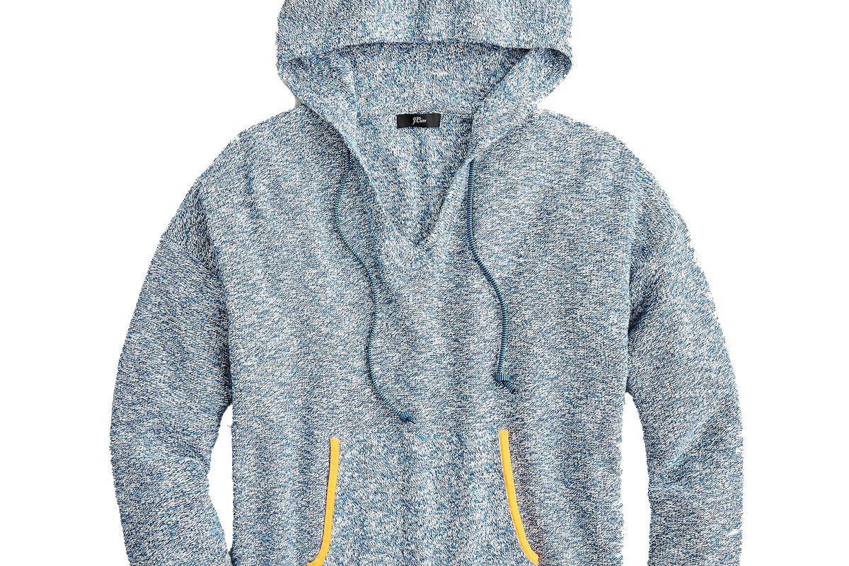 j crew v neck hoodie in marled yarn