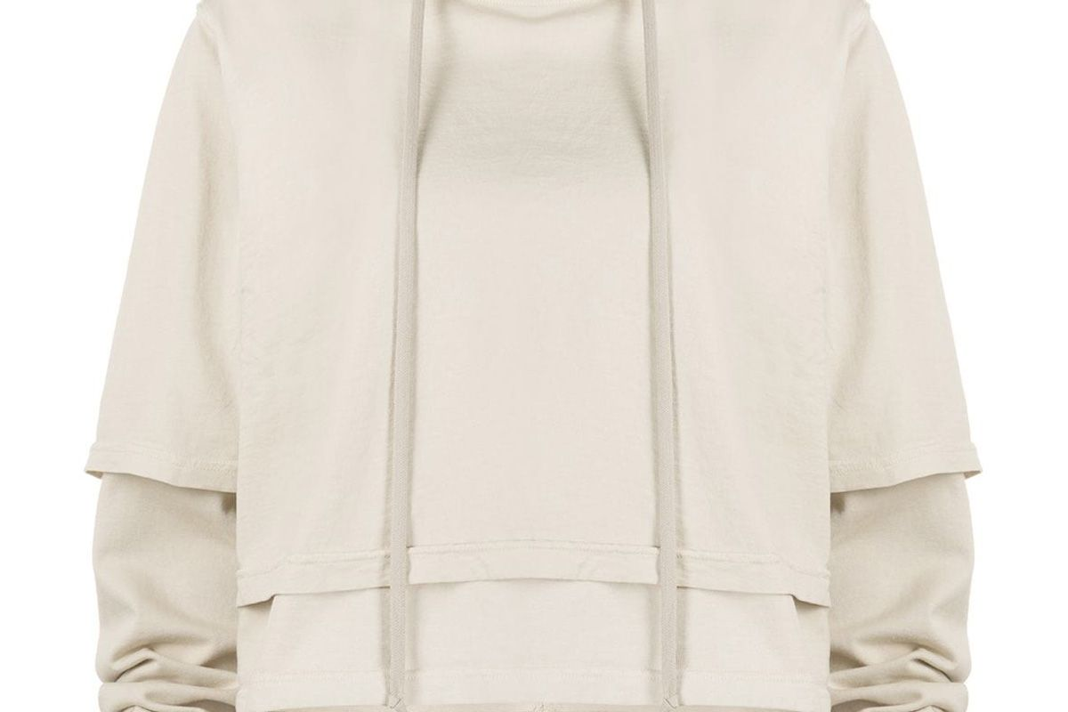 rick owens drksdhw double layer cotton hoodie