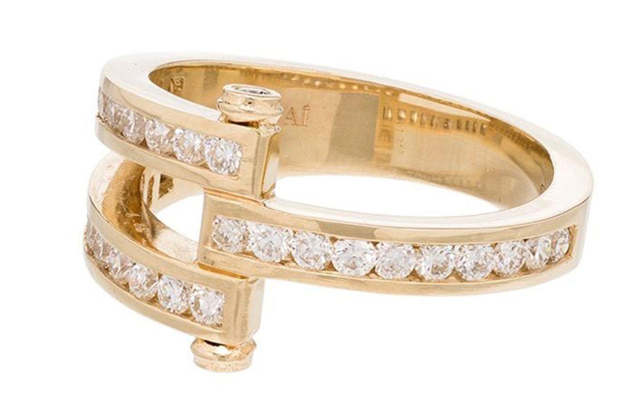 retrouvai magna 14kt gold pave diamond ring