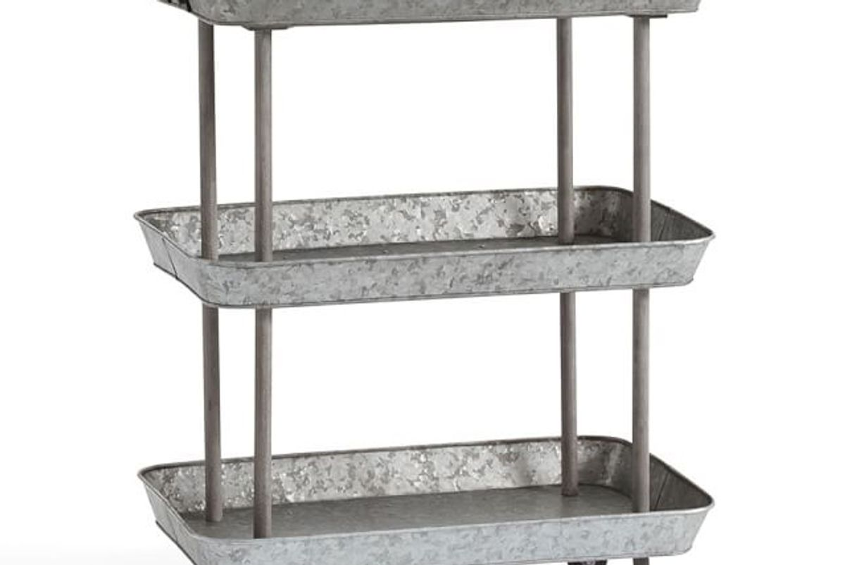 pottery barn rainier galvanized storage cart