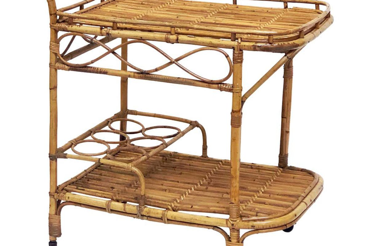 vintage italian midcentury rattan cane and bamboo drinks cart