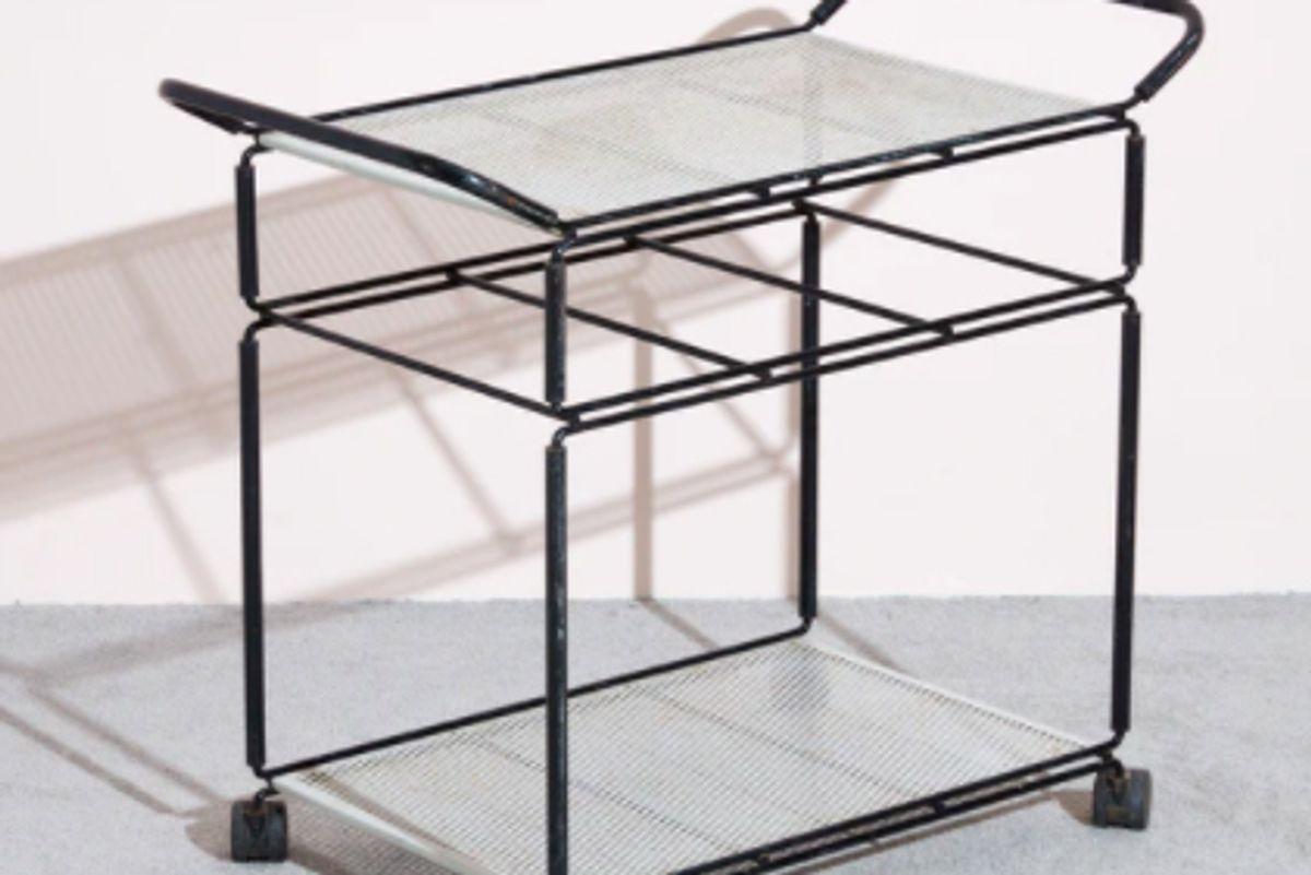 mathieu mategot vintage perforated bar cart