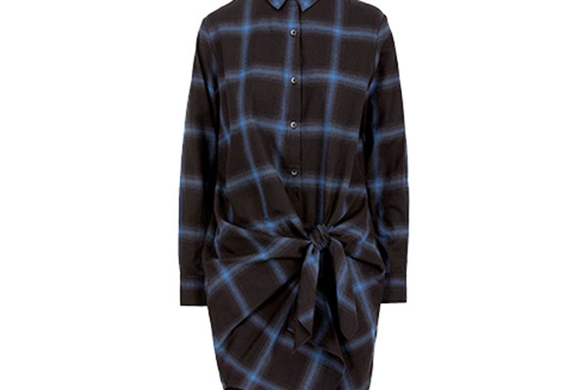 Plaid Flannel Tie Front Shirtdress
