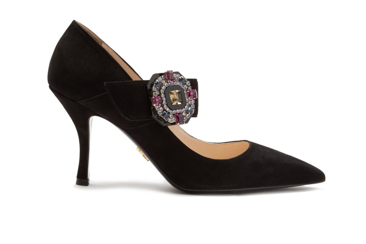 Crystal-buckle Suede Mary-Jane Pumps