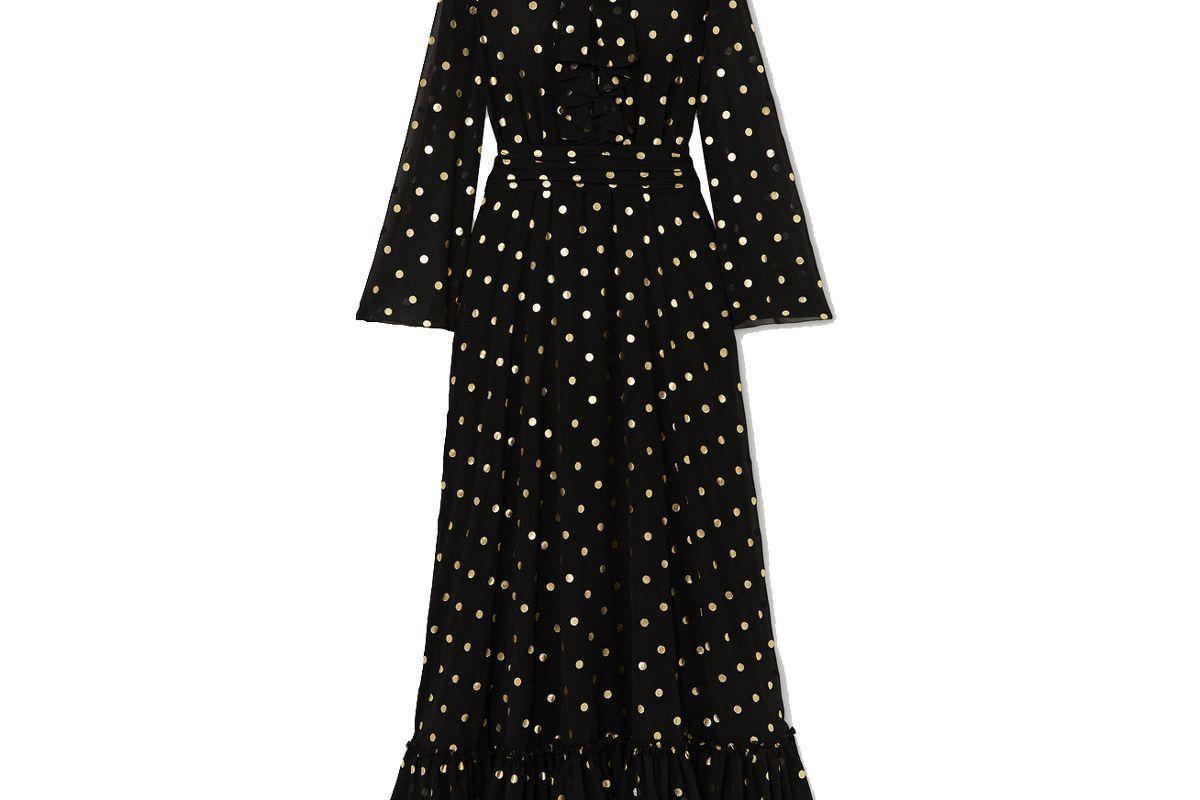 redemption pussy bow ruffled metallic polka dot chiffon gown