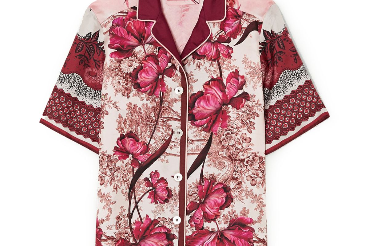 for restless sleepers homonoia floral print silk twill shirt