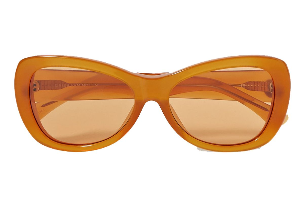 dries van noten round frame acetate sunglasses