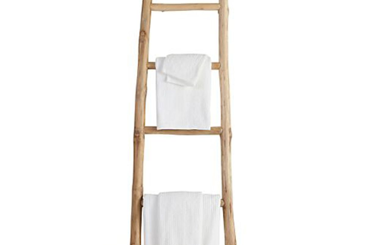 crate and barrel teak ladder