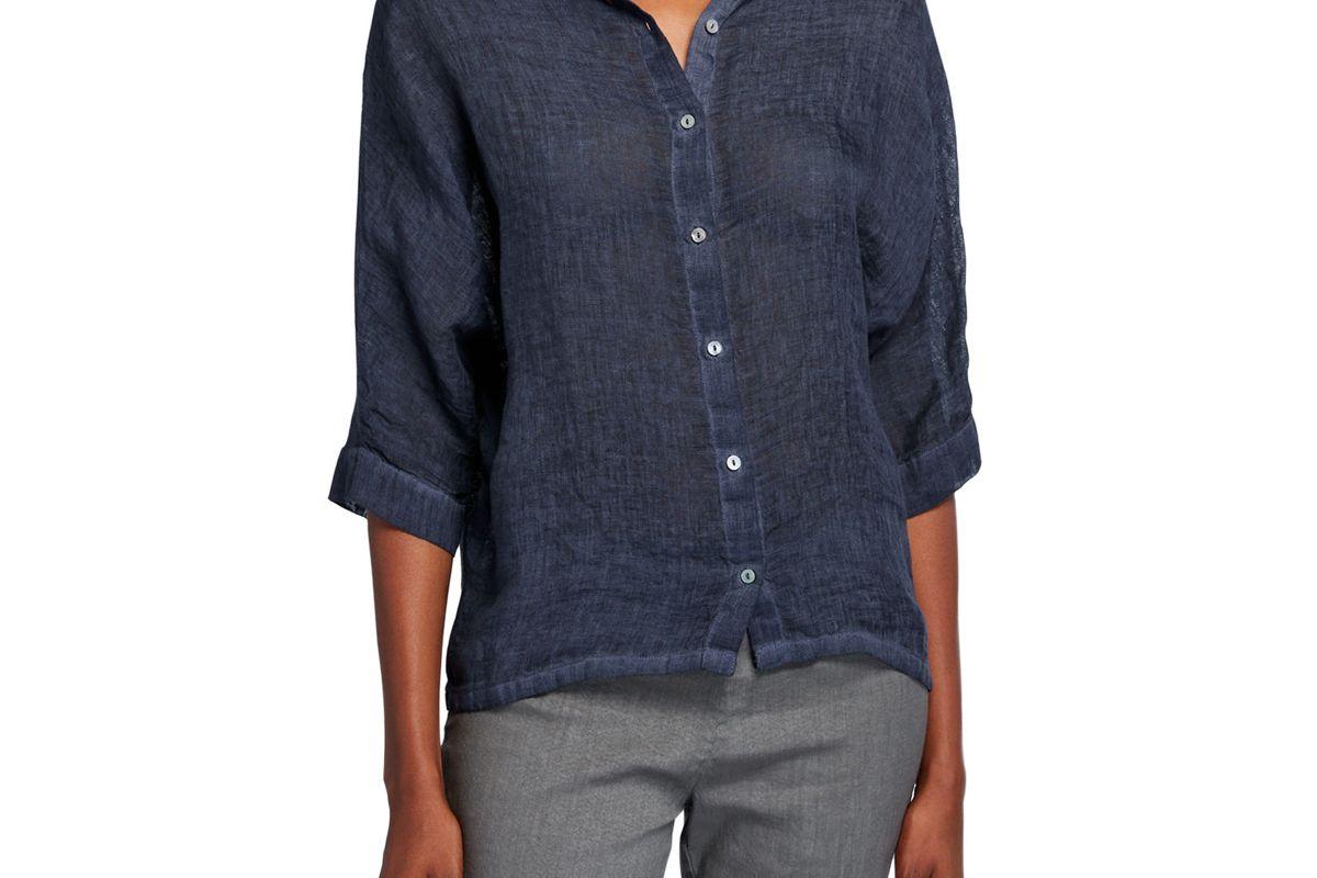 120 percent lino 3 4 sleeve jersey back collared linen shirt