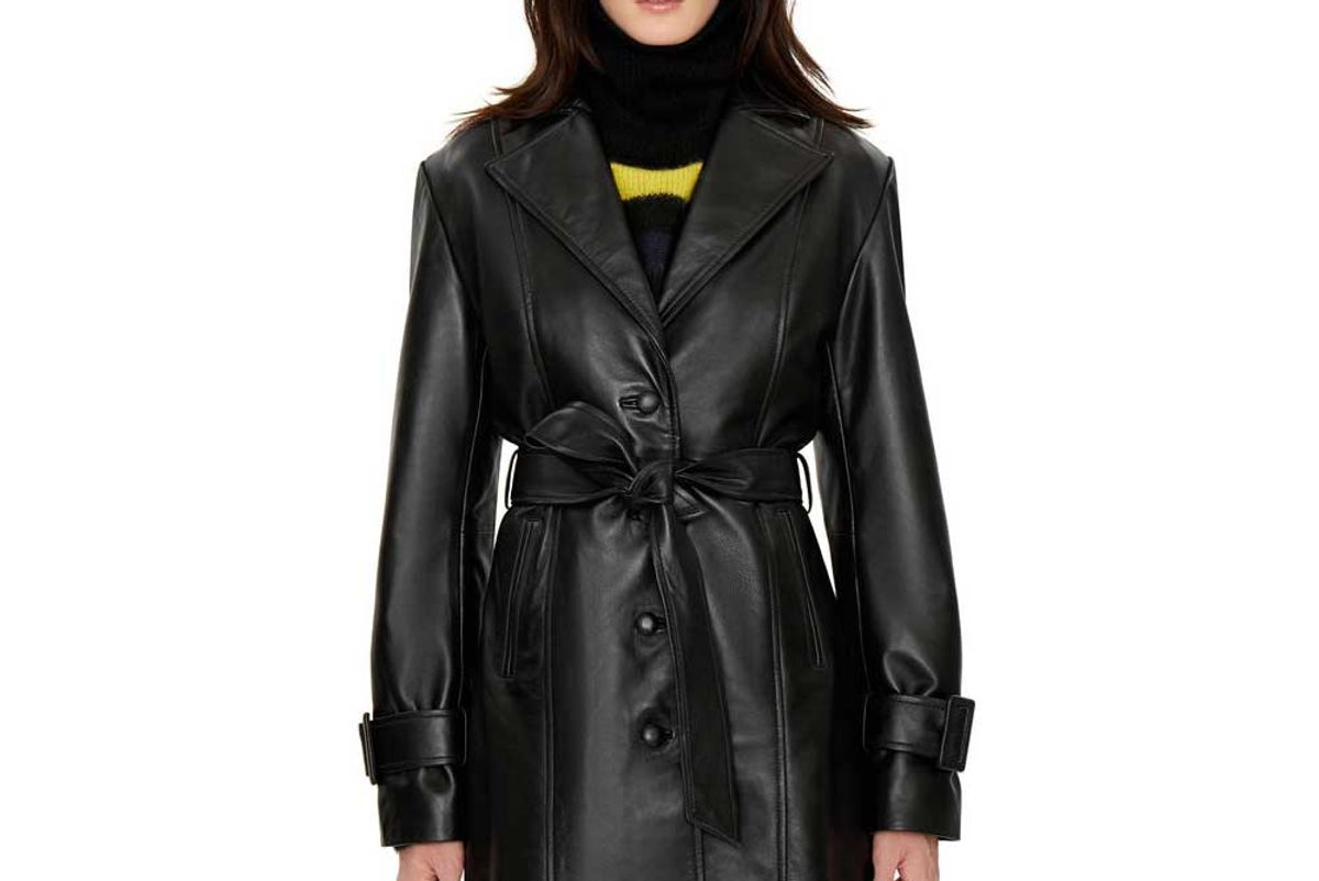 danielle guizio belted leather trench coat
