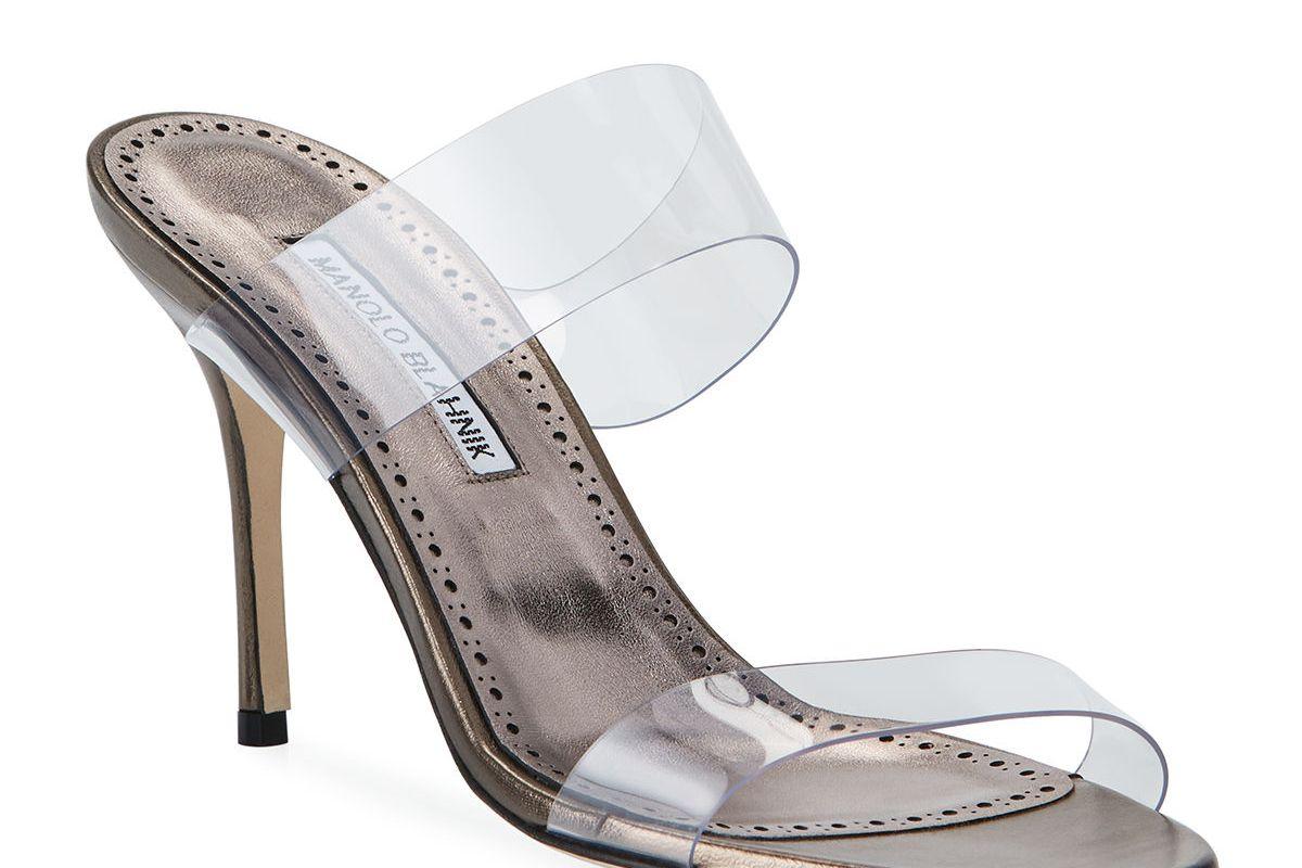 manolo blahnik scolto leather and pvc slide sandals