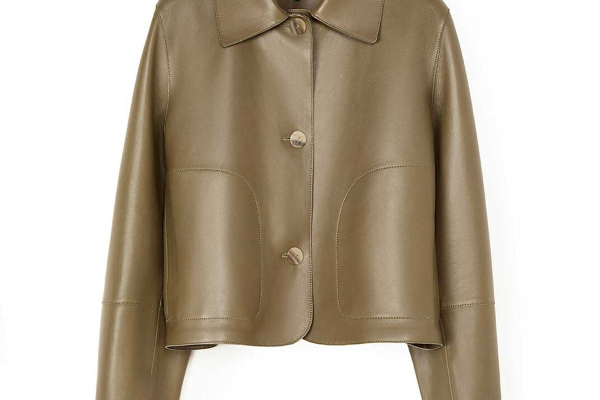 loewe button jacket khaki green