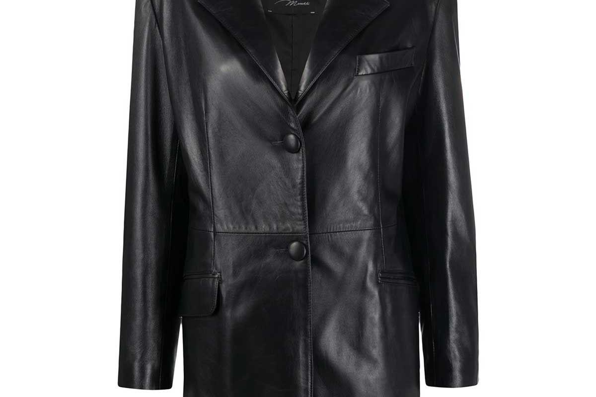 manokhi single breasted leather jacket