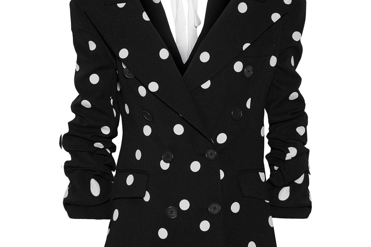Ruched polka-dot silk-blend crepe blazer
