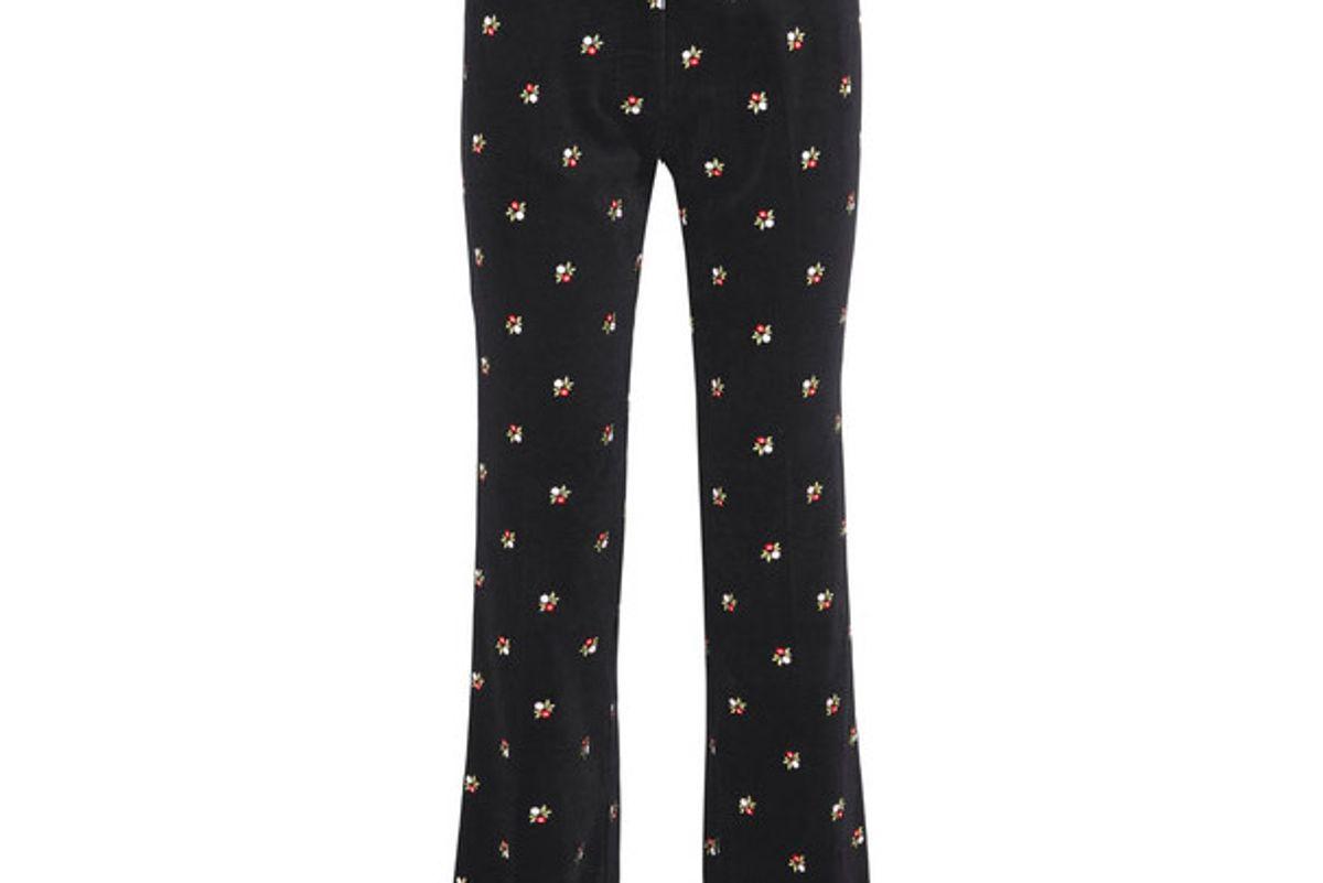 Embroidered cotton-velvet straight-leg pants