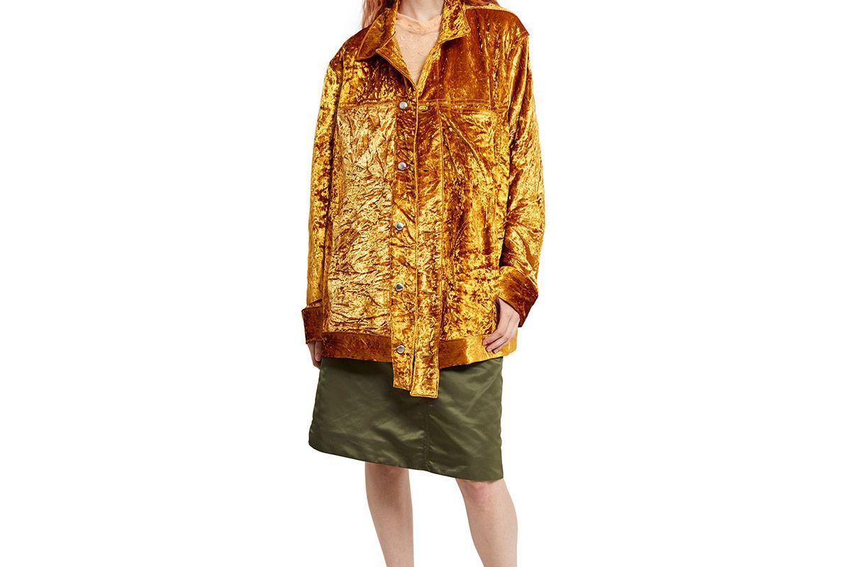 Gold Crushed Velvet Denim Jacket