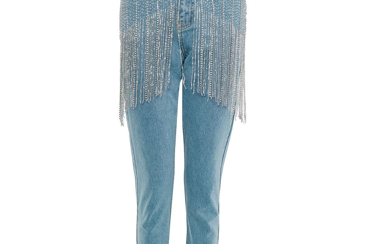 Limited Edition MOTO Diamante Fringe Waist Mom Jeans