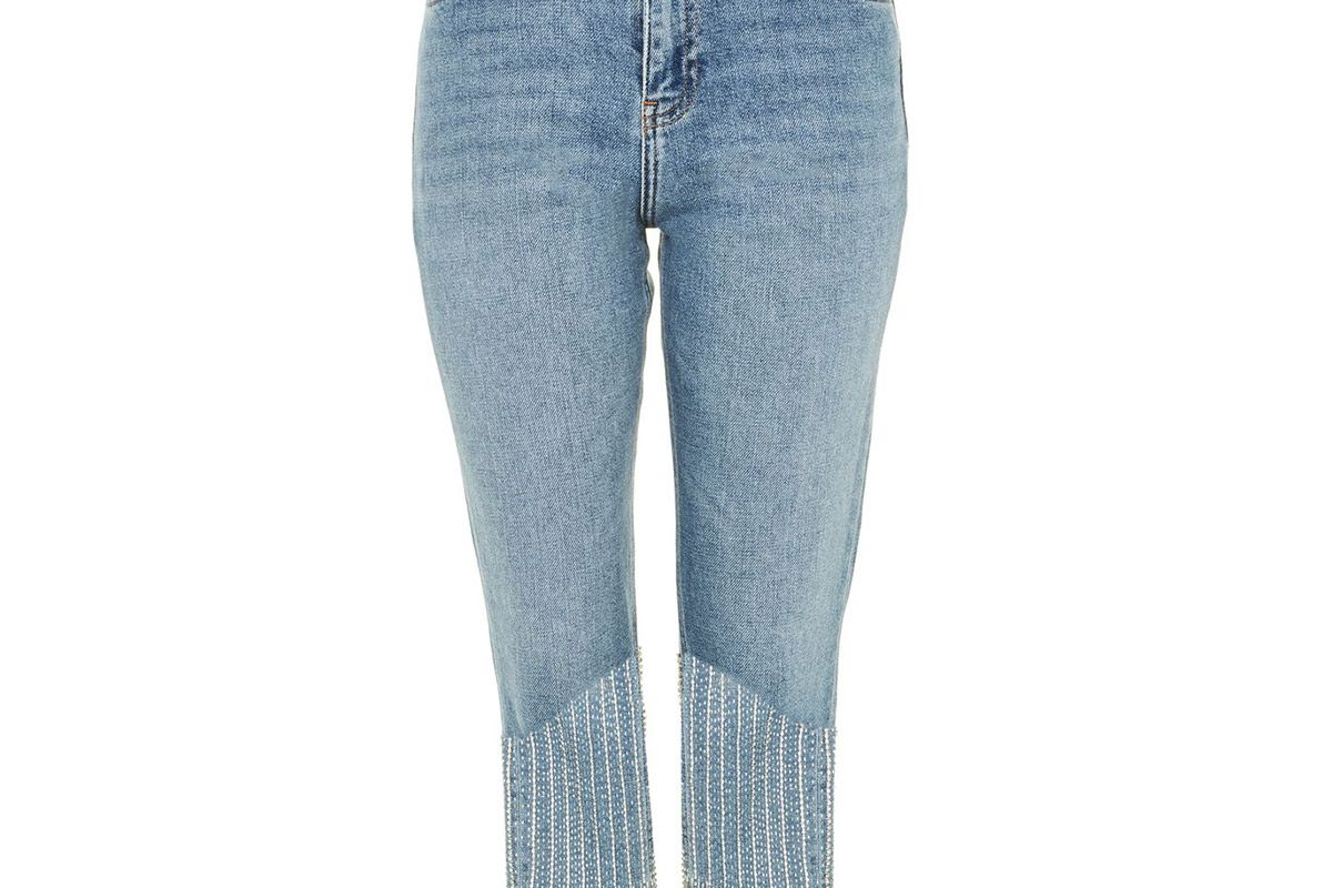 Limited Edition Straight Leg Dazzle Hem Jeans