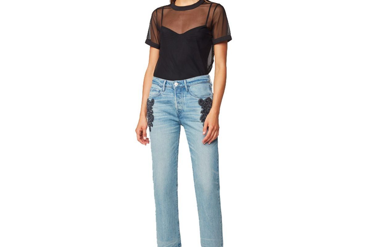 W3 High Rise Beaded Boyfriend Crop Burke