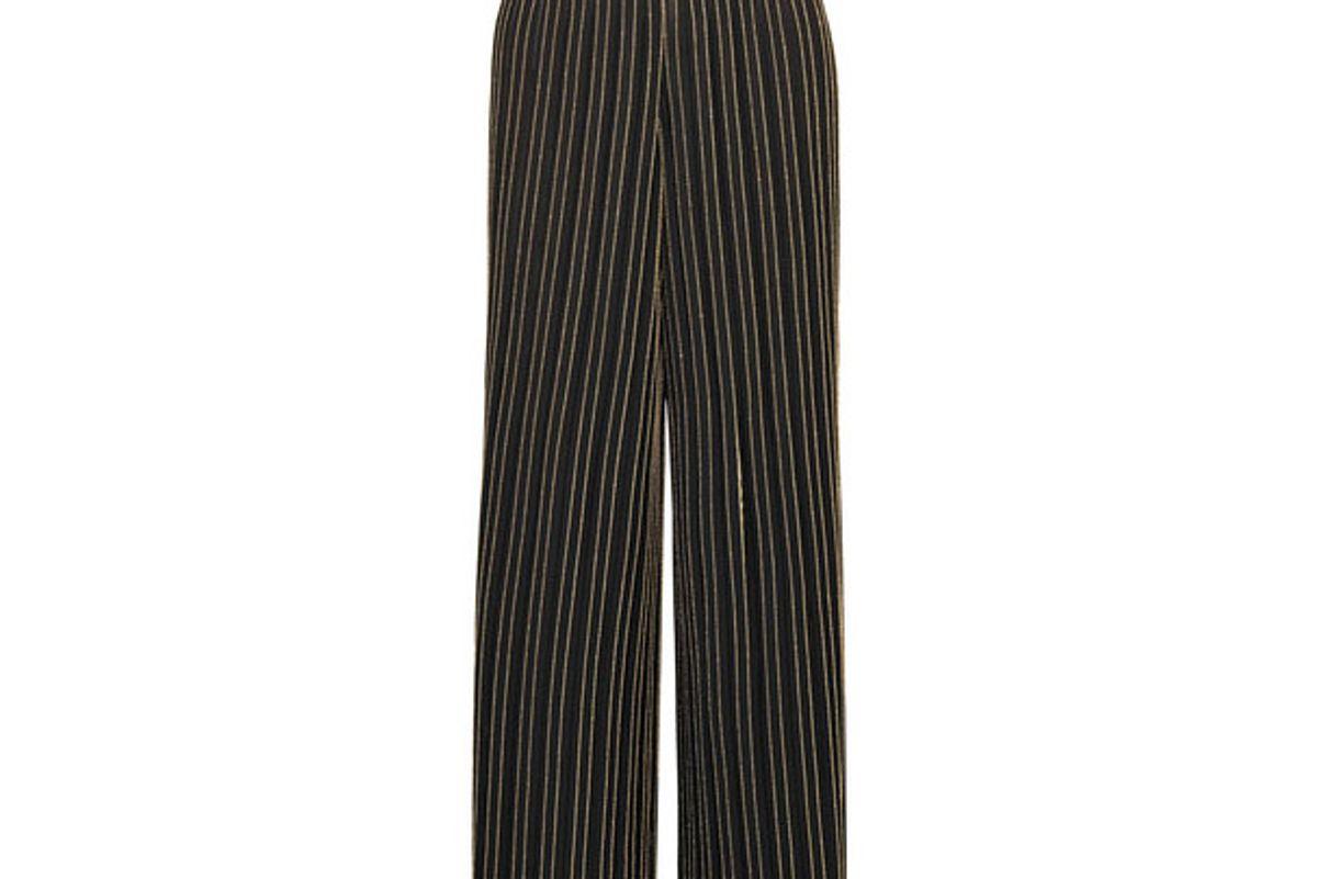 Metallic striped pleated stretch-knit wide-leg pants