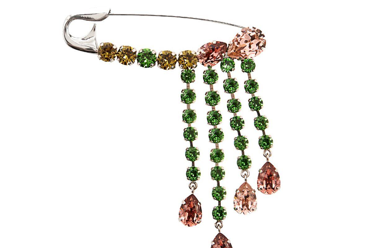 Crystal-Embellished Safety-Pin Brooch