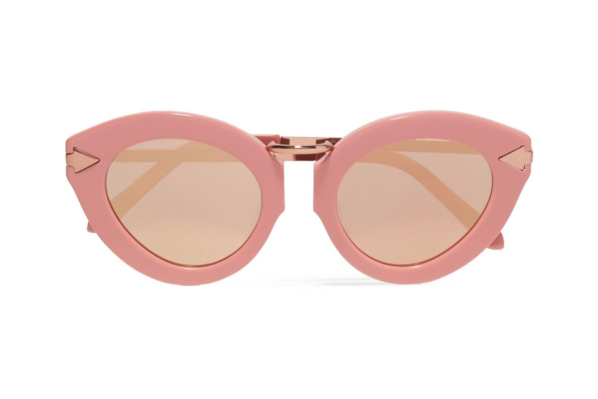 Lunar Flowerpatch Cat-Eye Acetate and Rose Gold-Tone Mirrored Sunglasses