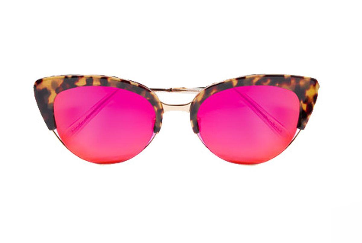 Josephine Cat-Eye Acetate and Gold-Tone Mirrored Sunglasses